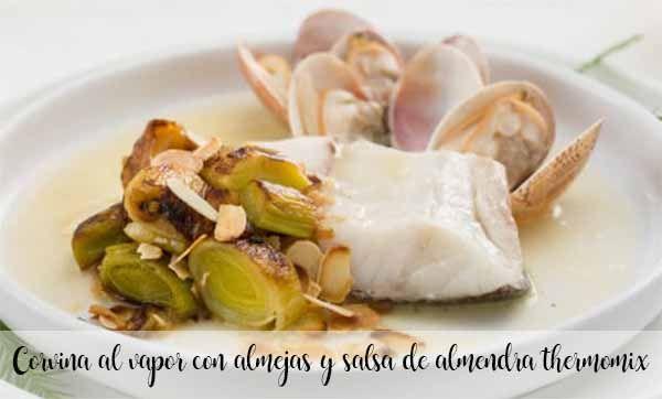 Okoń morski gotowany na parze z małżami i sosem migdałowym thermomix