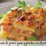 Lasagne ziemniaczana, szynkowa i serowa z termomiksem