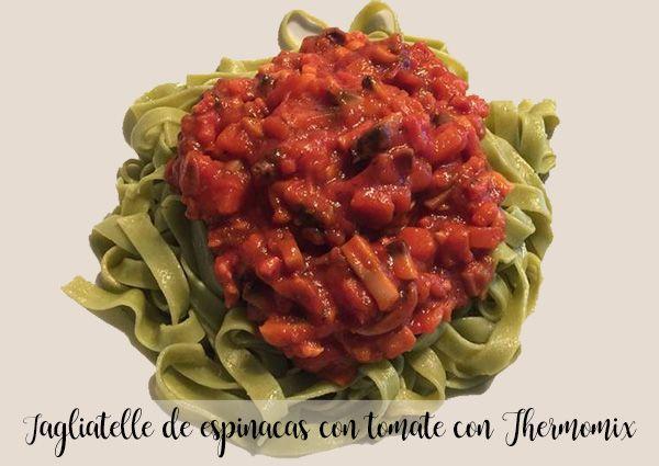 Tagliatelle szpinakowe z pomidorami z Thermomixem