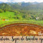 Zurrukutuna, zupa czosnkowa z dorsza baskijskiego i pieczywo z Thermomixem